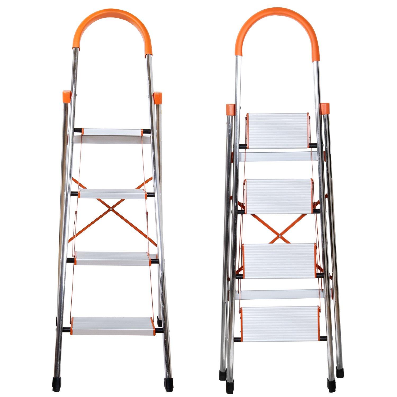 Lifewit Alu-Haushaltsleiter Klappstufen 4 Stufen Klappleiter Klapptriit Rutschfest belastbar bis 150 kg