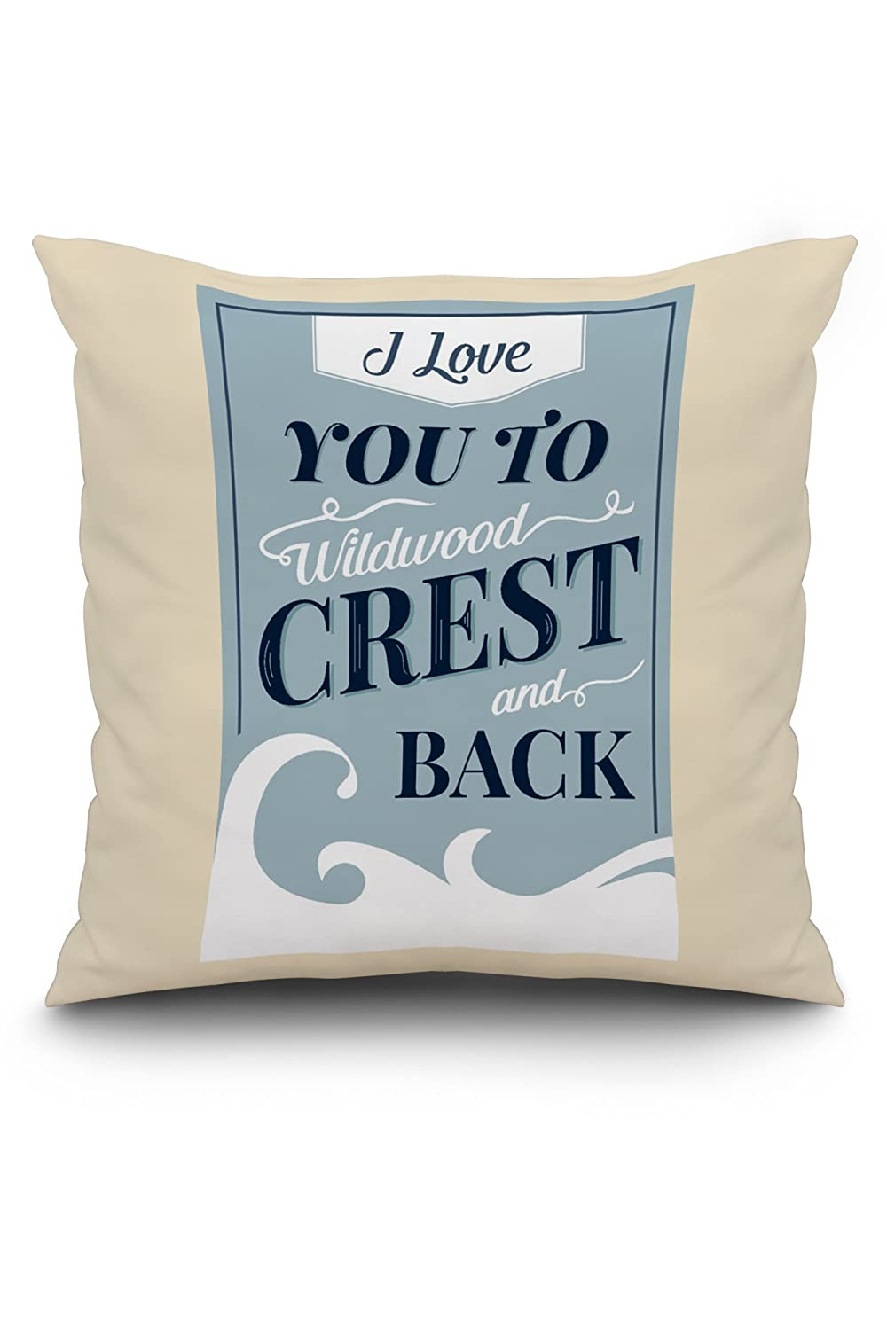 Love You To Wildwood Crest and Back – ビーチSentiment – ライトブルー 20 x 20 Pillow (Natural Border) LANT-3P-PW-NL-77869-20x20 B01N0JWX9G  20 x 20 Pillow (Natural Border)