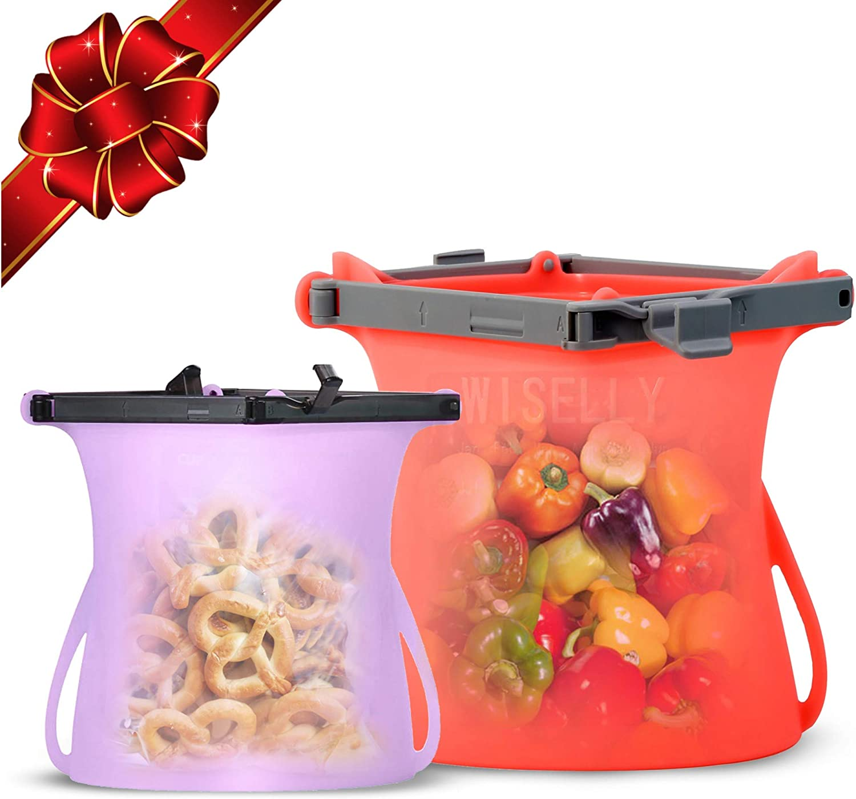 Food Bunker Reusable Silicone Stand-Up Food Storage Bags Bundle (33 Oz Random Color + 68 Oz) Microwave Freezer Dishwasher Safe Bags 1/2 Gallon and Snack Sandwich Bag