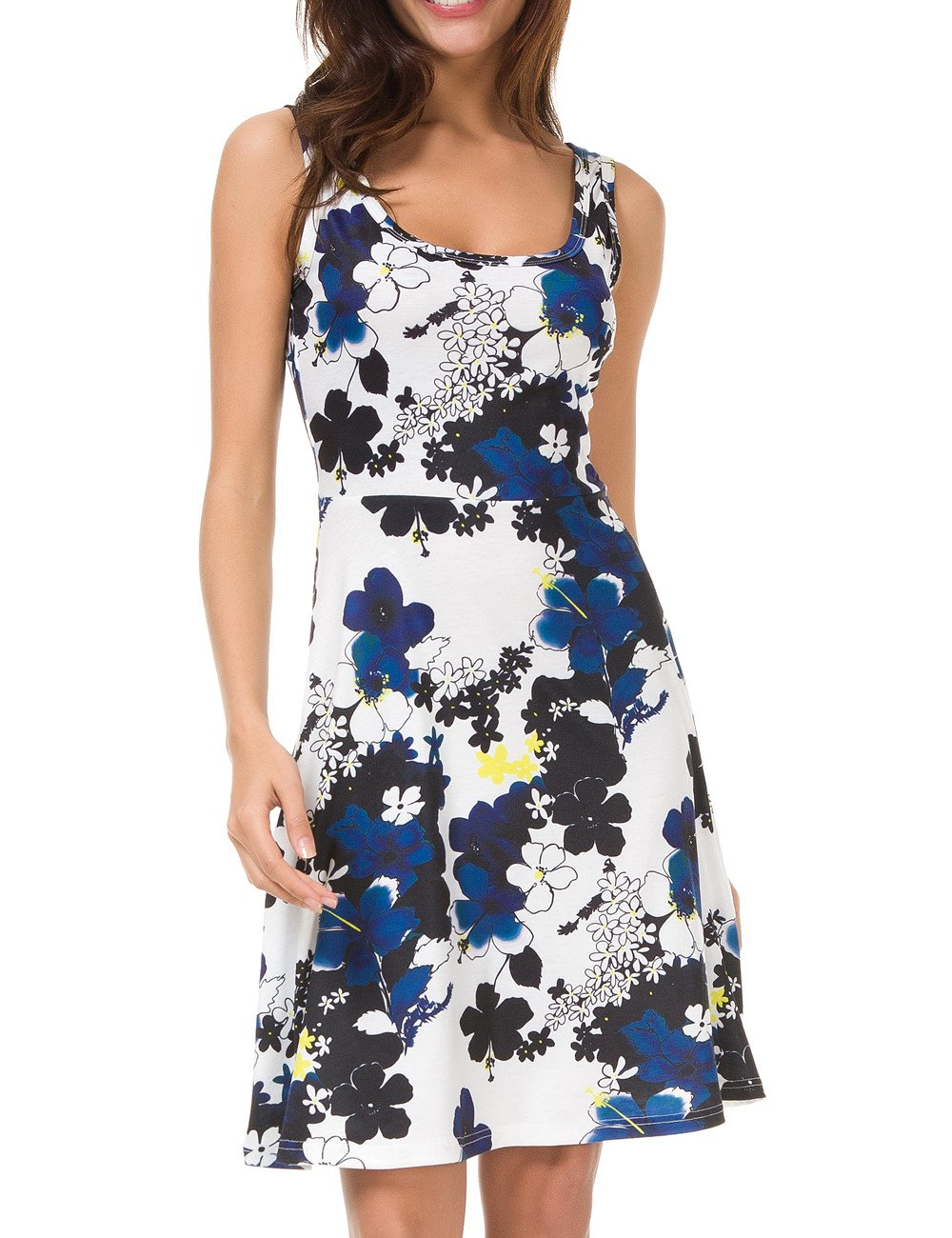 bb21691b9b0c Galleon - Herou Women Sleeveless Beach Casual Flared Floral Tank Dress  (Flower-31-1, Small)
