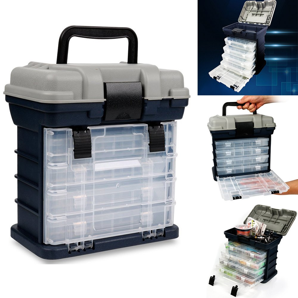 Portable Handheld Fishing Tackle Box 4 Layers Bulk Drawer Organizer Tool Fishing Lures Hooks Accessories Storage Tray Bait Case with Handle Utility Box