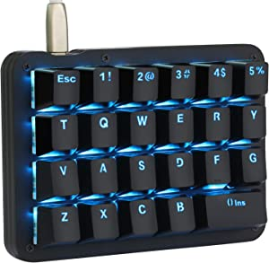 Koolertron One Handed Macro Mechanical Keyboard, Blue LED Backlit Portable Mini One-Handed Mechanical Gaming Keypad 23 Fully Programmable Keys Red Switches (Blue Backlit/Red switches)