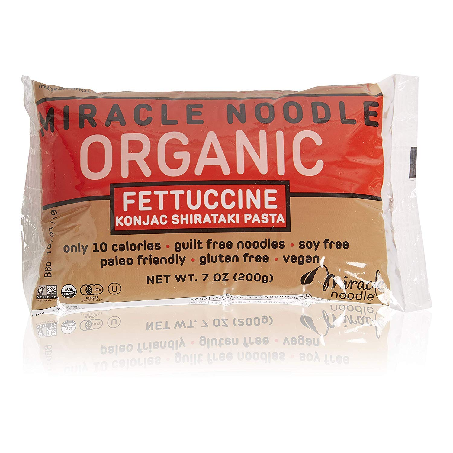 Miracle Noodle Organic Shirataki Fettuccini, Gluten-Free, Zero Carb, Keto, Vegan, Soy Free, Paleo, Blood Sugar Friendly, 7oz (Pack of 12) by Miracle Noodle