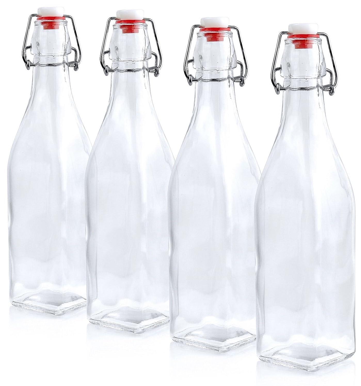 16 oz Estilo Swing Top Easy Cap Glass Beer Bottles Square Set of 4 EST2685