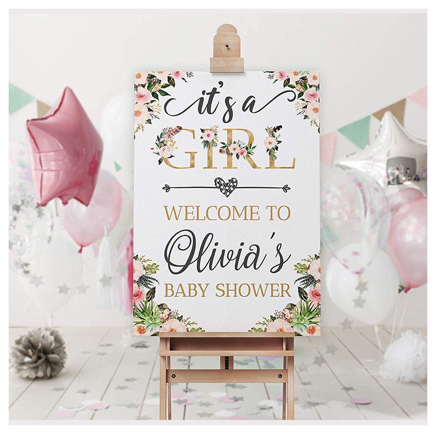 Floral Boho Baby Shower Sign, Size 24x18, 36x24, 48x36 Baby Shower Props, Boho Chic Decor, Bohemian Its a Girl, Baby Welcome Sign, Flower Baby Shower Decorations, Party Supplies, Baby Girl Party Decor