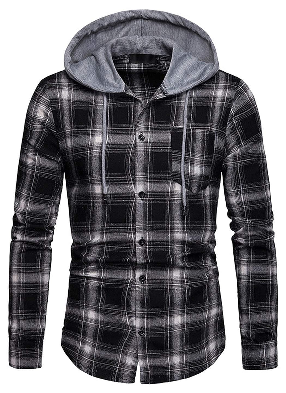 HOP FASHION Mens Classic Basic Plaid Flannel Long Sleeves Button Closure Dress Shirts Hooded