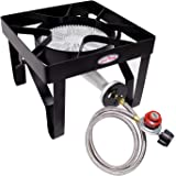 GasOne 200, 000 BTU Square Heavy- Duty Single Burner Outdoor Stove Propane Gas Cooker with Adjustable 0-20Psi Regulator…