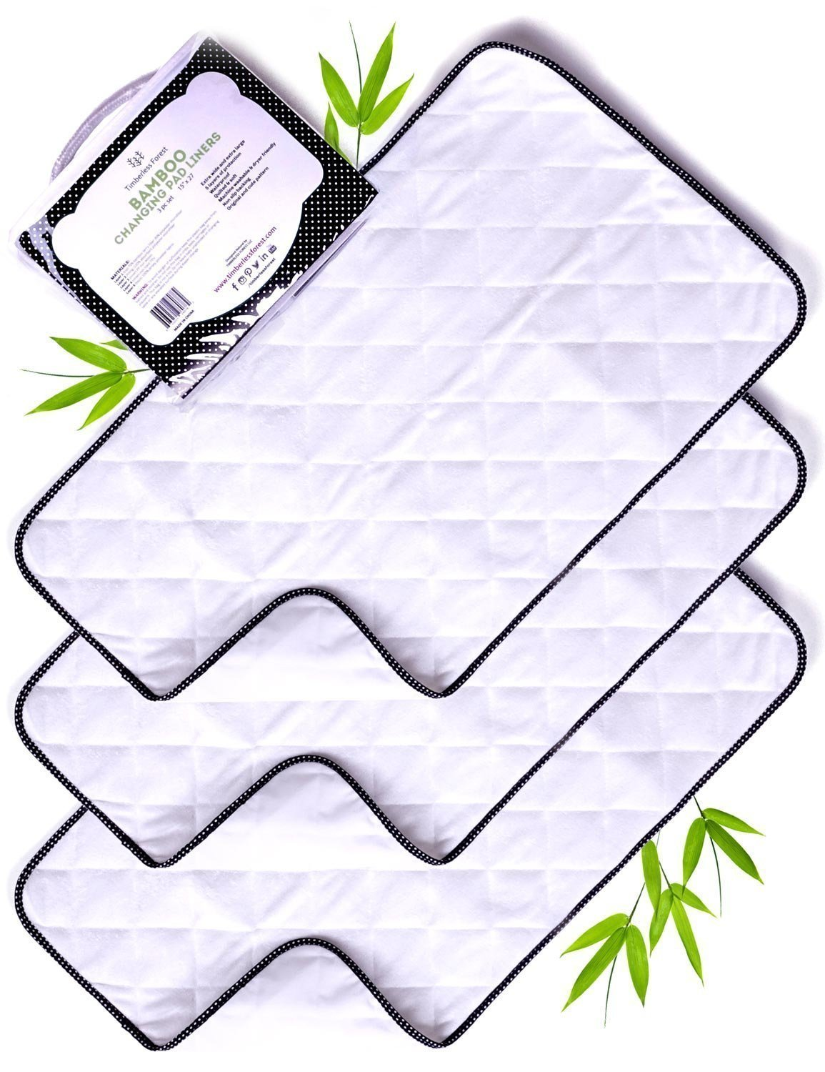 Bamboo Changing Pad Liners-Wipeable Changing Pad Cover-Waterproof Changing Table Pad Liners