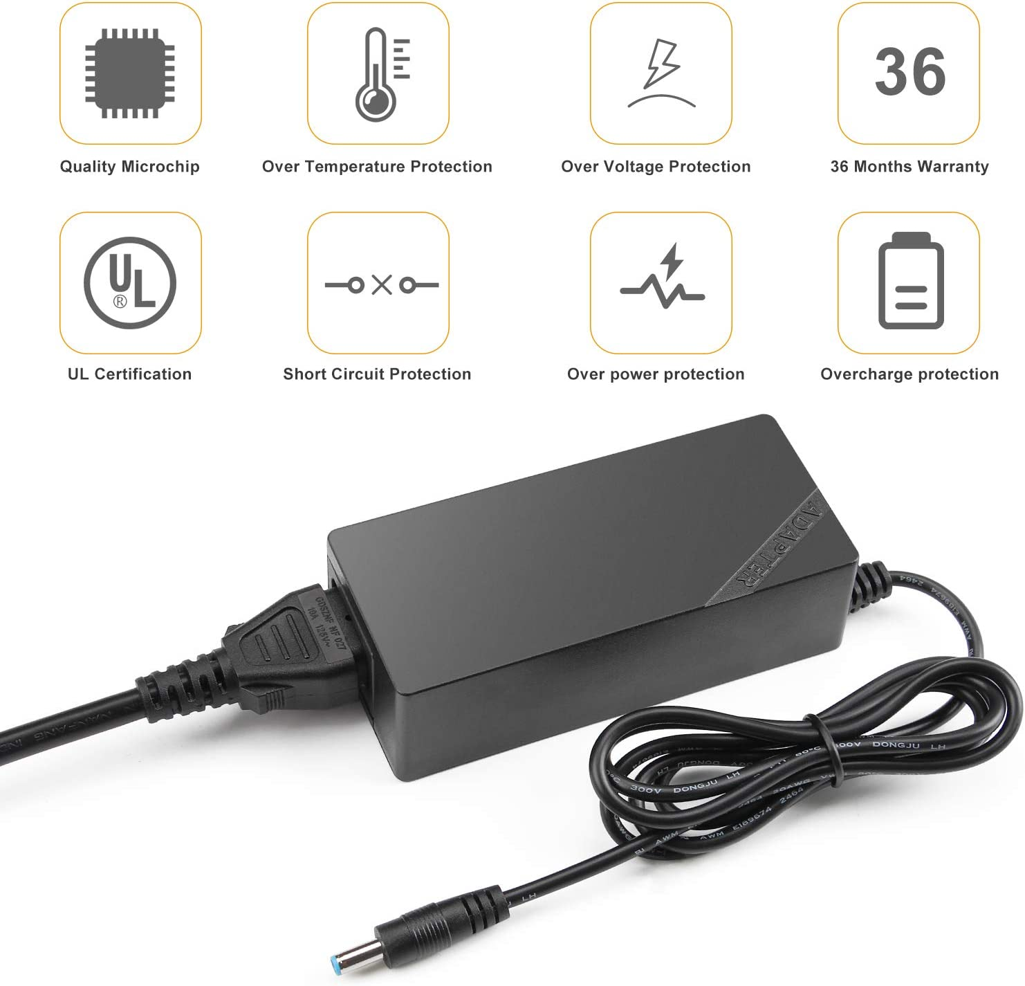 Slim Charger for Dell Inspiron 15-5000 15-3000 13-7000 15-7000 17-5000 17-7000 11-3000 13-5000 14-3000 14-5000 Series 5559 5558 5755 5758 5378 Power Supply Cord Laptop Charger 45W AC Power Adapter