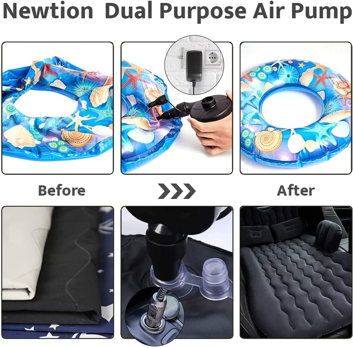 Pool Floats Pool Raft Toy DOTSOG Electric Air Pump,100-240V AC Electric Pool Float Pump,Portable Inflate and Deflate Air Pump with 3 Nozzles Inflatable Pump Air Mattress Pump for Inflatables Couch