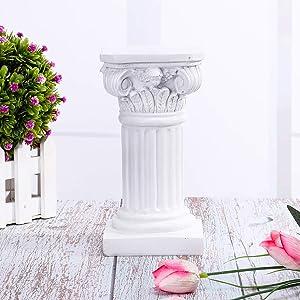 Disumos Roman Pillar Greek Column Resin Figurine Base Wedding Table Decorations 3.9x3.9x7.5in (White)