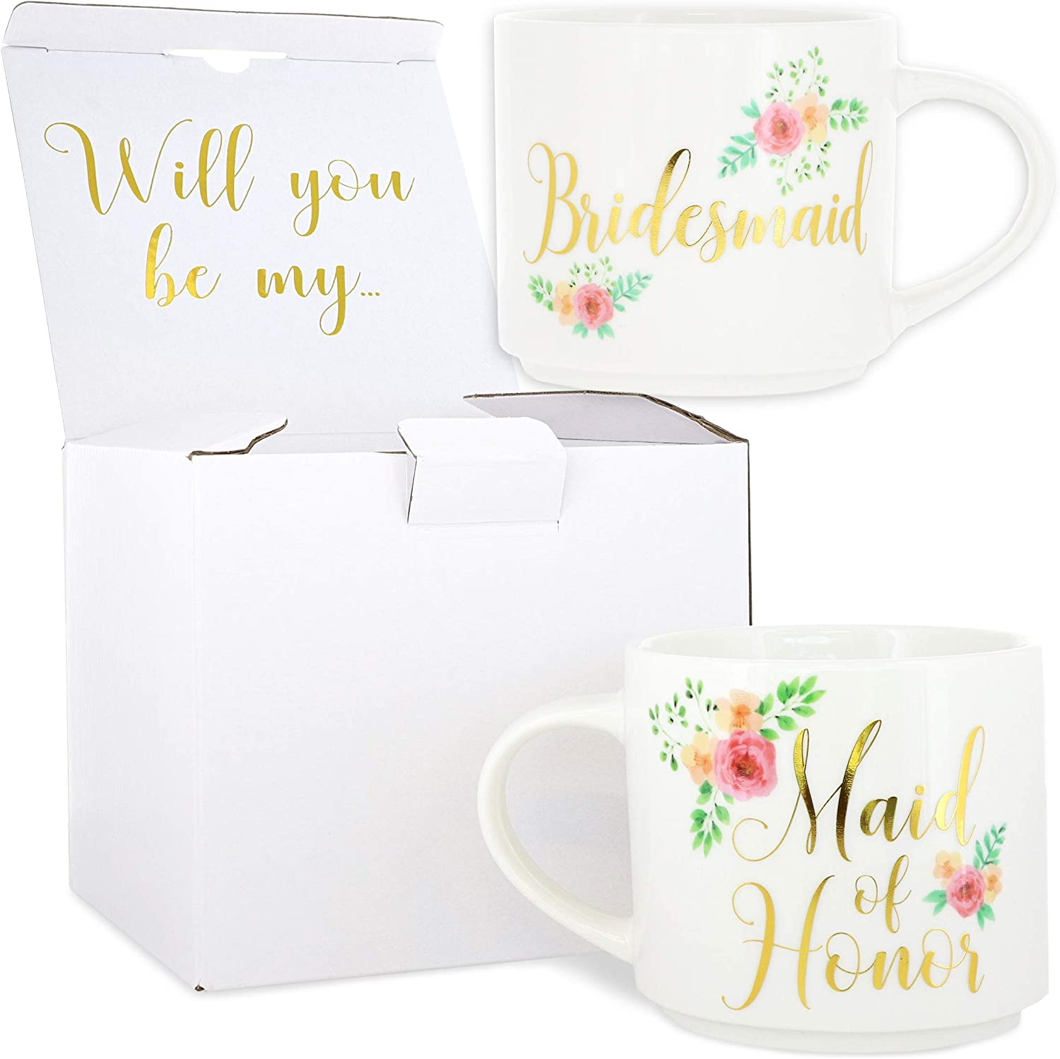 Blue Panda 2-Pack Stackable Bone China Coffee Mug, Maid of Honor & Bridesmaid, 15oz