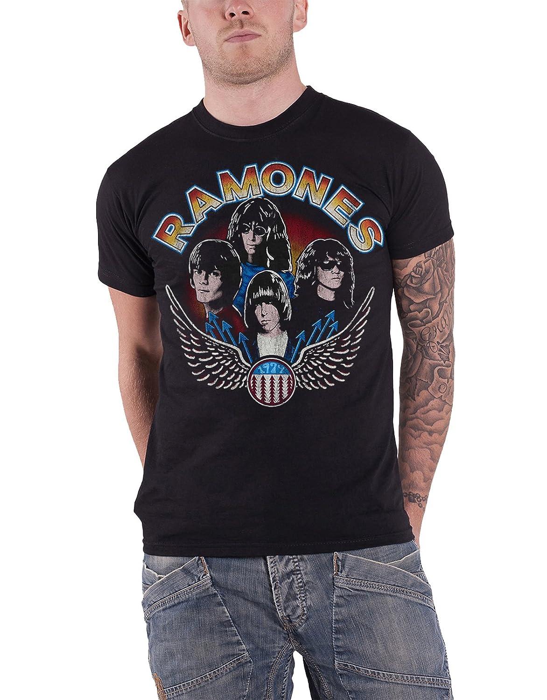 Ramones T Shirt Vintage Wings Band Logo Vintage New Official Mens Black
