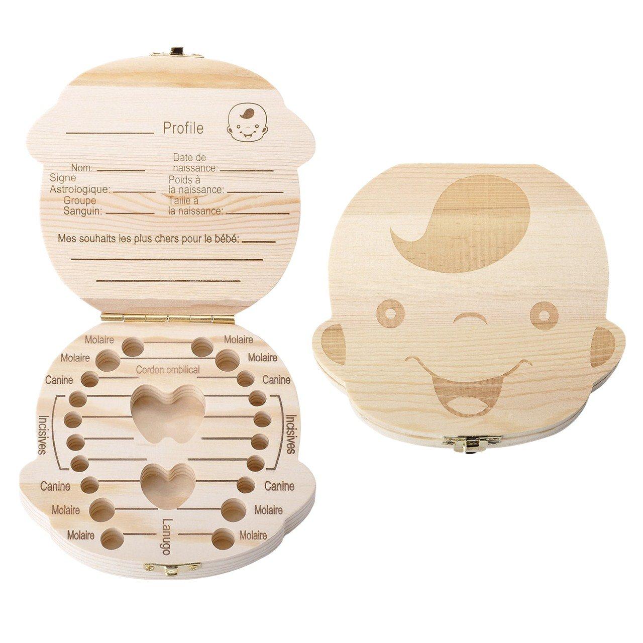 Mogoko Boîte à Dents de Lait avec Pince - Version Française - Conservation en Bois - Cadeau Souvenir pour Bébé Garçon Fille Enfant Nouveau-né Baby Anniversaire - Fille MMFR000369