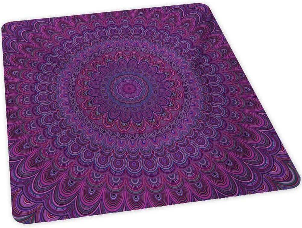 """Eggplant Office Chair mat, Purple Shape with a Kaleidescopic Style Sixties Inspired Oriental Abstract Art, 30"""" x 47"""" Chair Mat Protector for Hard Floors, Purple"""