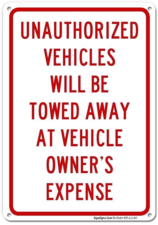 Paee Señal de Prohibido aparcar Propiedad privada, 10 x 14 ...