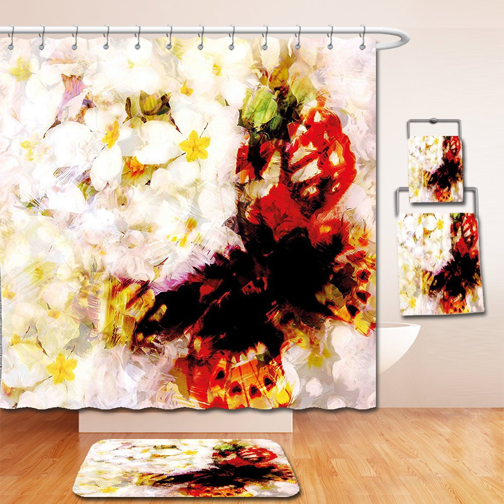 Nalahome Bath Suit: Showercurtain Bathrug Bathtowel Handtowel Paisley Decor Flower Garden with Orchids Roses Jasmines and Butterflies Abstract Decor Multicolor