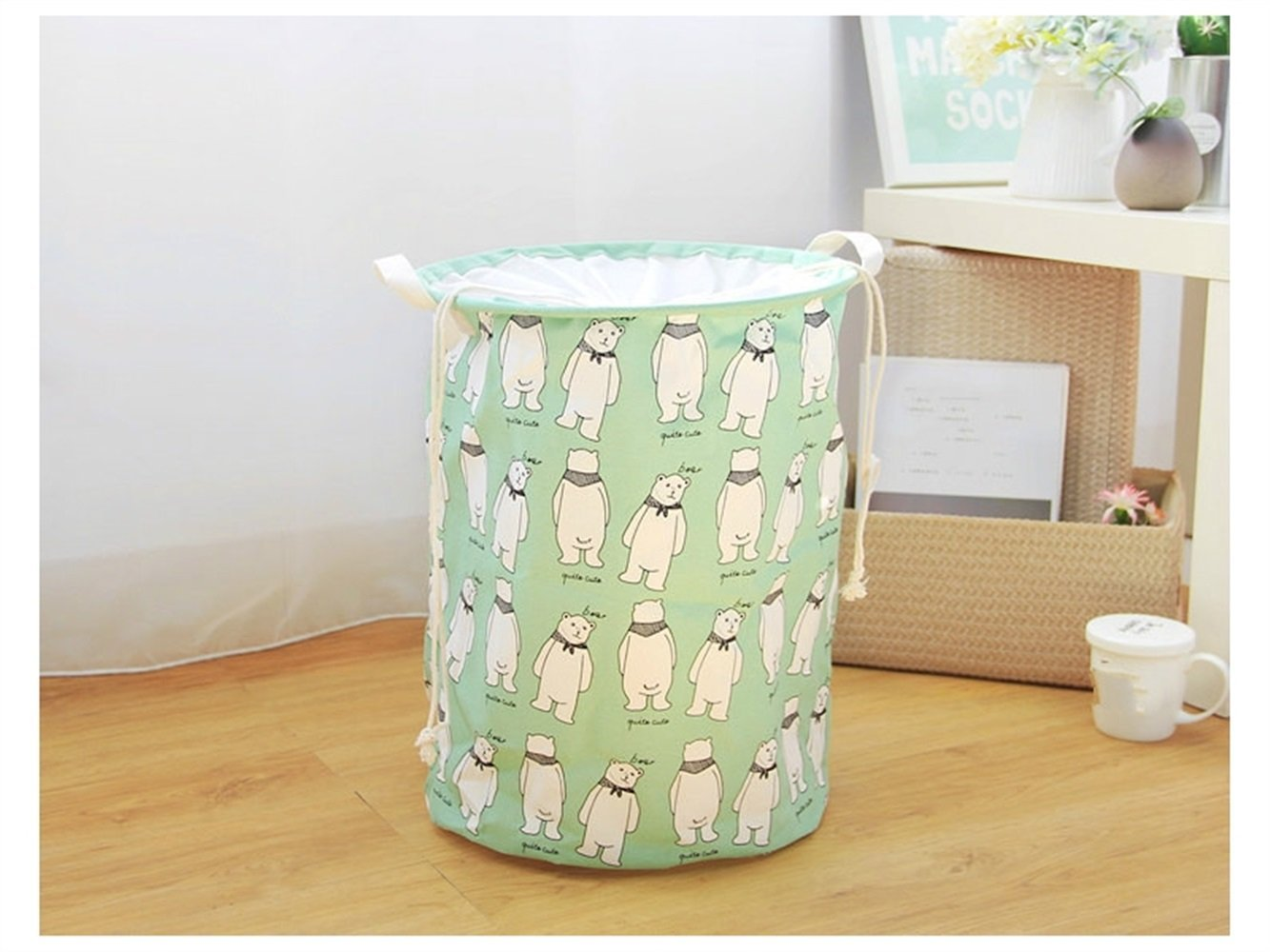 Gelaiken Lightweight Bear Pattern Storage Box Laundry Basket Cotton and Linen Storage Box (Green)