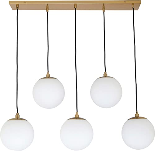 Amazon Brand Rivet Eclipse Mid Century Modern 5-Globe Hanging Ceiling Pendant Chandelier Fixture – 30 x 12 x 36 Inches, Brass with Frosted Glass Globes