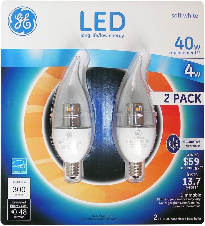 Ge LED 4 Watt Soft White Candelabra(Small) Base(E12) Clear Bent Tip (2 Pk.)