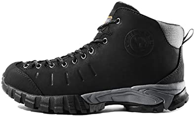 b1ce05f8aae CAMEL CROWN Mens Mid Hiking Boots Water Resistant Leather Hiking Shoes for  Outdoor Walking Trekking Black