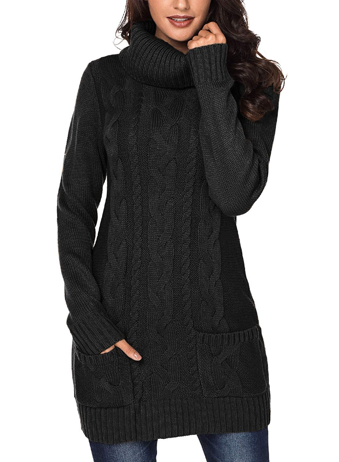 7278a2d2e9 BLENCOT Womens Turtleneck Long Sleeve Elasticity Chunky Cable Knit Pullover  Sweaters Jumper with Pockets