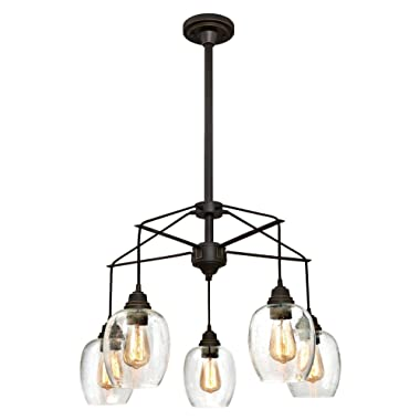 Westinghouse 6333100 Eldon Five-Light Indoor Chandelier, Oil Rubbed Bronze Finish with Highlights and Clear Seeded Glass, 5