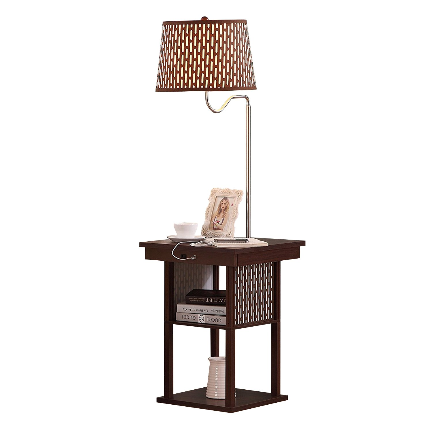 Brightech Madison - Mid Century Modern Nightstand, Shelves & USB Port Combination - Bedside Table with LED Floor Lamp Attached - End Table for Living Room Sofas - Brown by Brightech (Image #1)