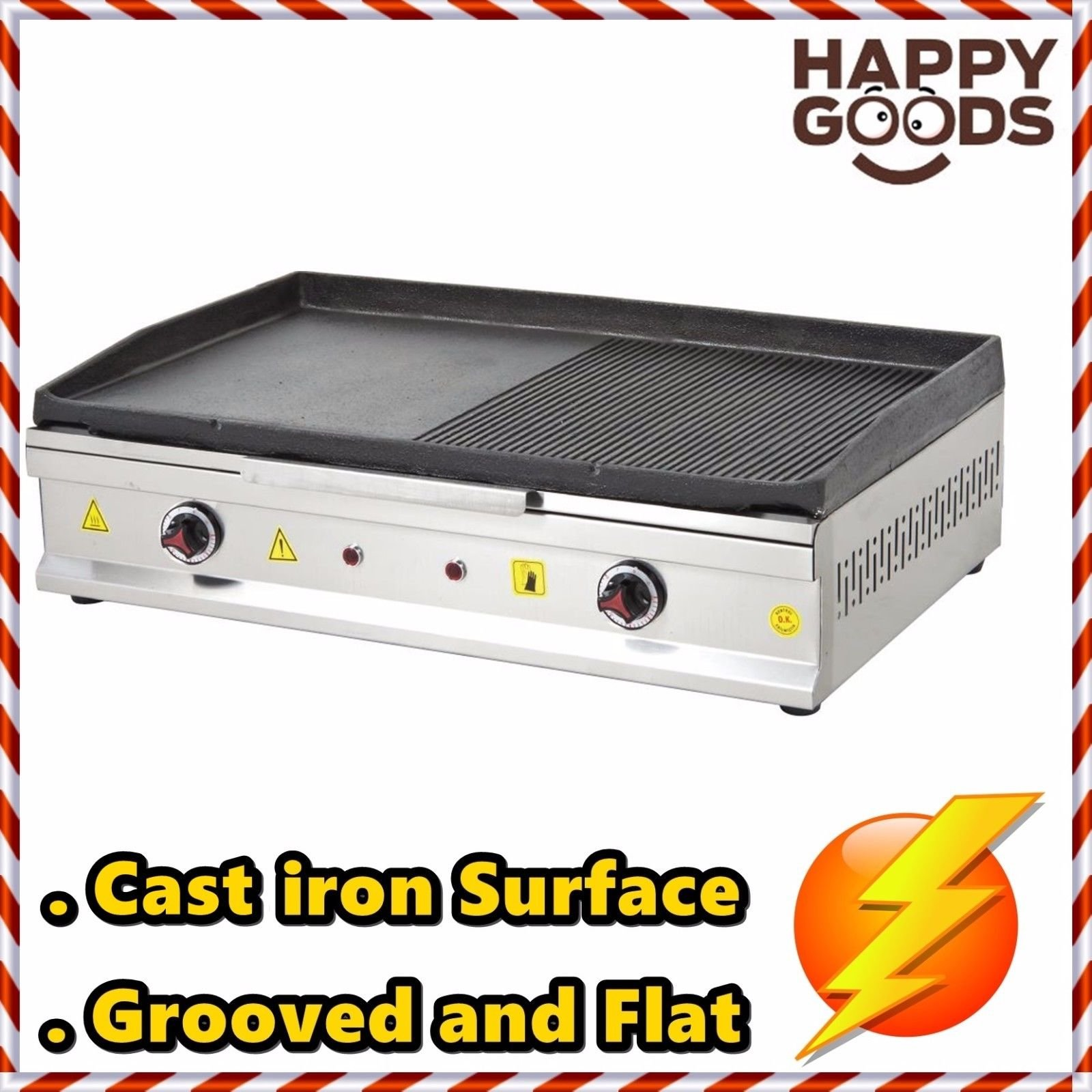 28 '' ( 70 cm ) ELECTRIC Commercial Kitchen Equipment GROOVED AND FLAT CAST IRON SURFACE Countertop Manual Griddle Restaurant Cooktop Top Grill 220V