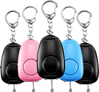 Safe Sound Personal Alarm, 5 Pack 130DB Siren Song Personal Security Alarm Keychain with LED Lights, Emergency Safety Self Defense for Women Kids Elderly