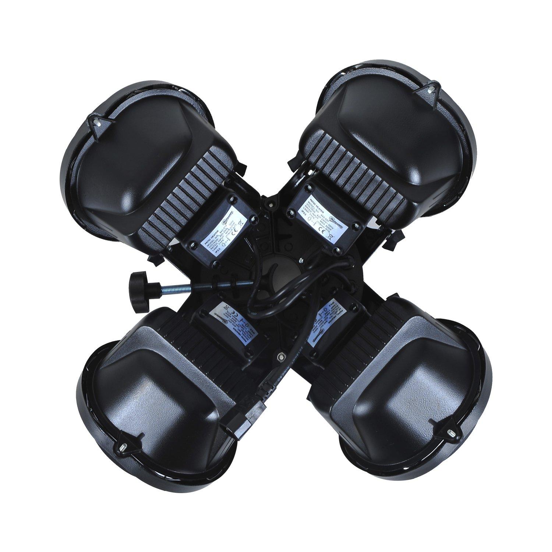 Outsunny Chauffage Parasol /Ø 56 x 13H cm 4 Ampoules halog/ènes Total Max 2000 W capacit/é 15 m/² Noir