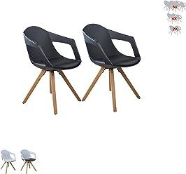 i-flair® Set Esszimmerstuhl/Sessel / Küchenstuhl MIT ARMLEHNE aus Holz mit Sitzschale + Sitzkissen aus Kunstleder (2, Schwarz)