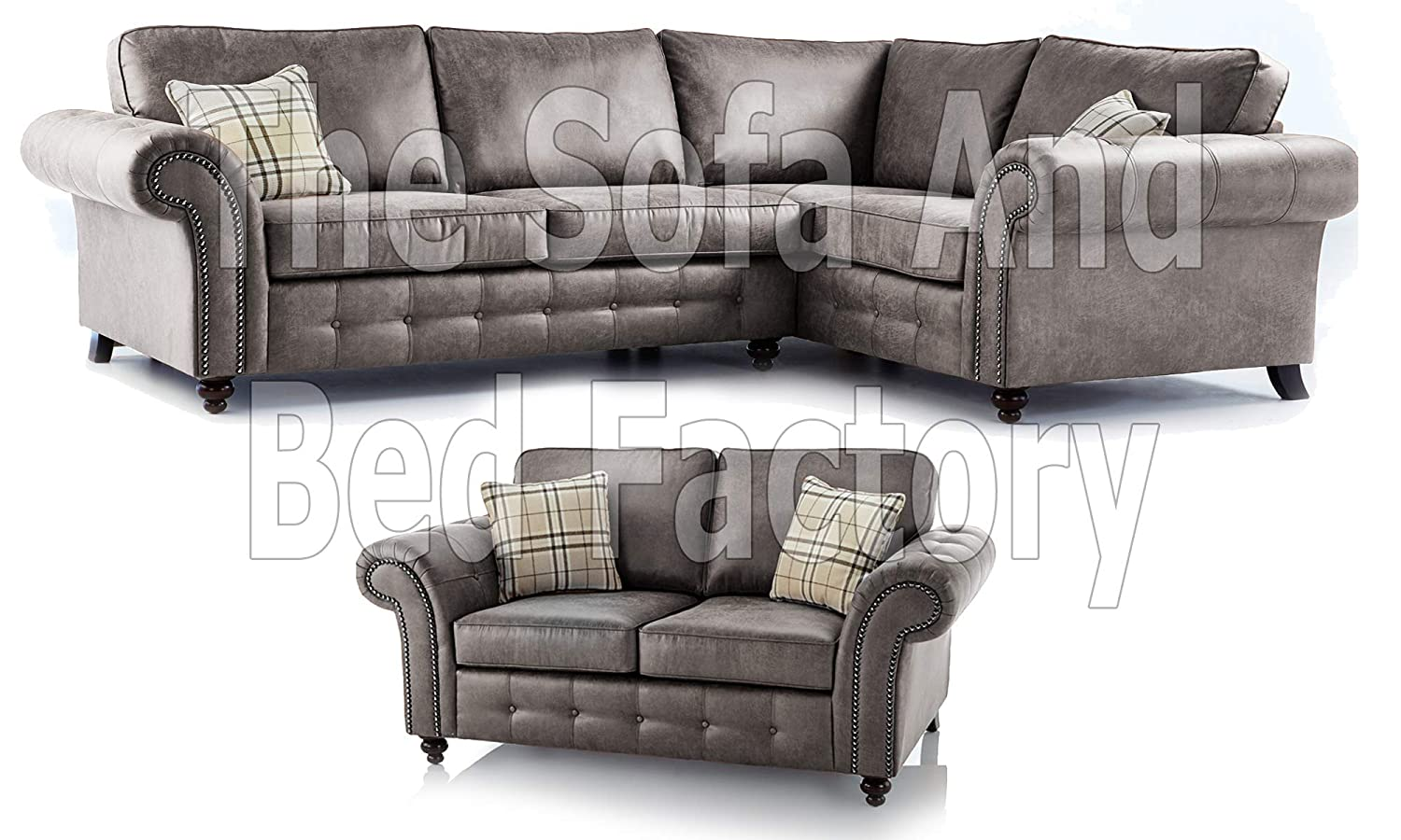 Large 5 Seater Grey Leather Corner Sofa Oakridge 2 Corner