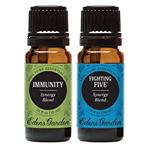 Edens Garden Fighting Five & Immunity Essential Oil Synergy Blend, 100% Pure Therapeutic Grade (Highest Quality Aromatherapy Oils), 10 ml Value Pack