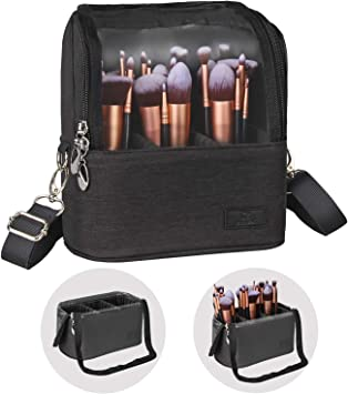 Contains My Face  Black Gold Brush Stroke Makeup Bag Travel Bag Accessory Pouch W TBottom Urban Modern