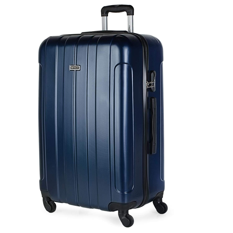 ITACA - Maleta de Viaje Grande XL Rígida 4 Ruedas Trolley 73 cm de ABS Lisa. Cómoda Resistente y Ligera. Calidad Diseño Gran Capacidad. Estilo y Marca. 771170, Color Marino