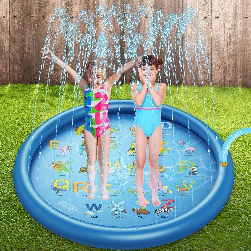 Children/'s Sprinkler Pool 68/'/' Inflatable Water Toys Splash Pad Sprinkler for Kids Water Splash Pad and Wading Pool for Learning