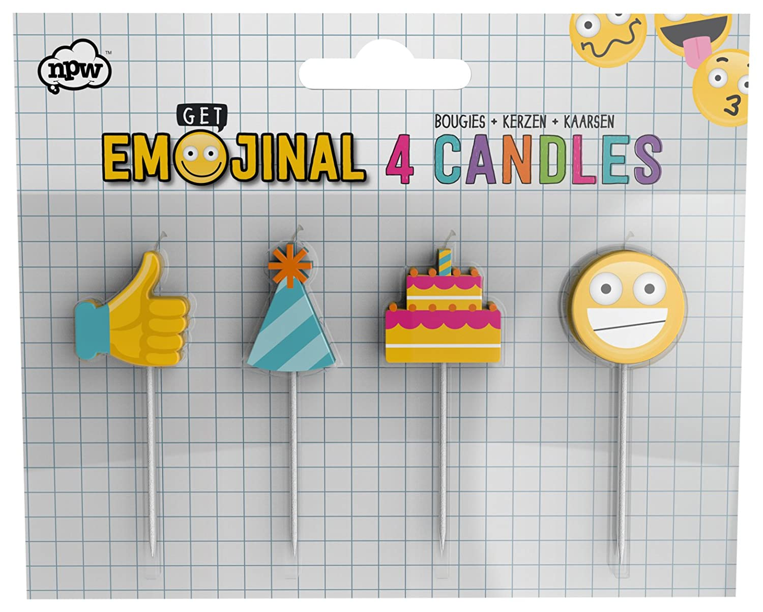 Amazing Npw Emoticon Birthday Cake Candles Pack Of 4 Candles Get Funny Birthday Cards Online Aeocydamsfinfo