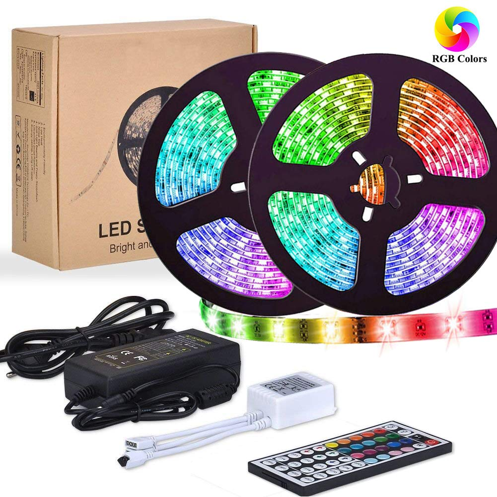 YORMICK LED Strip Lights, 32.8Ft/10M 300LED Light Strip SMD 5050 Waterproof Flexible RGB Strip Lights with 44 Keys IR Remote for Home Kitchen Bar Counter Cabinet Party Christmas Decoration by YORMICK
