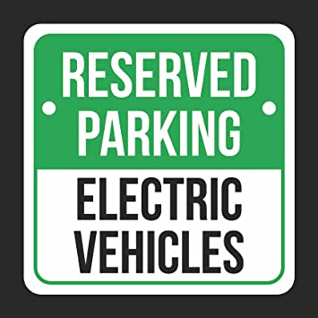 6 Pack 12x12 White and Black Notice Parking Metal Square Signs Reserved Parking Electric Vehicles Print Green