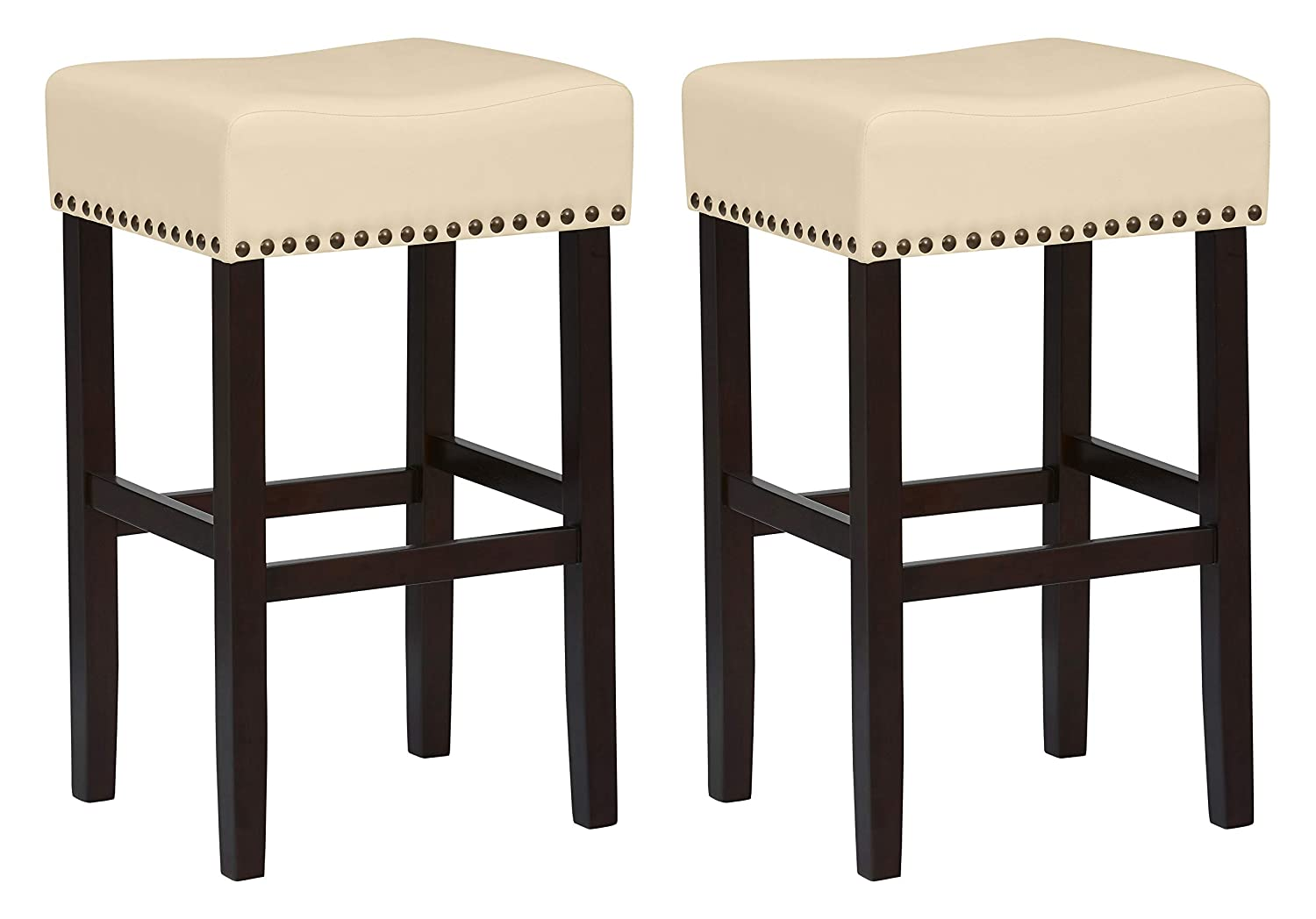Awesome Ravenna Home Lisetta Nailhead Saddle Bar Stool 30H Espresso With Cream Faux Leather 2 Pack Forskolin Free Trial Chair Design Images Forskolin Free Trialorg