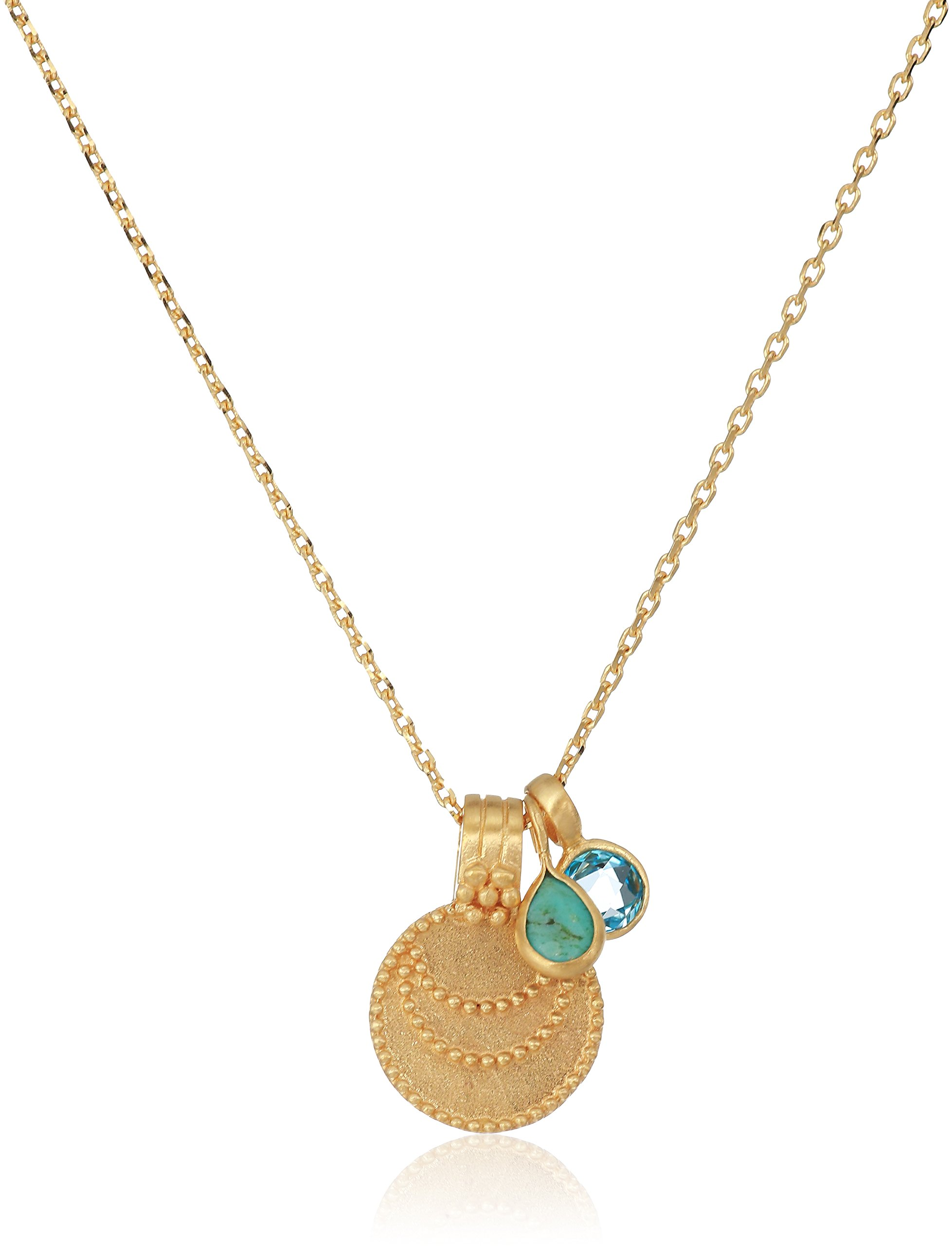 Satya Jewelry Women's Turquoise & Blue Topaz Gold Moon Pendant Necklace 18-Inch, Blue, One Size