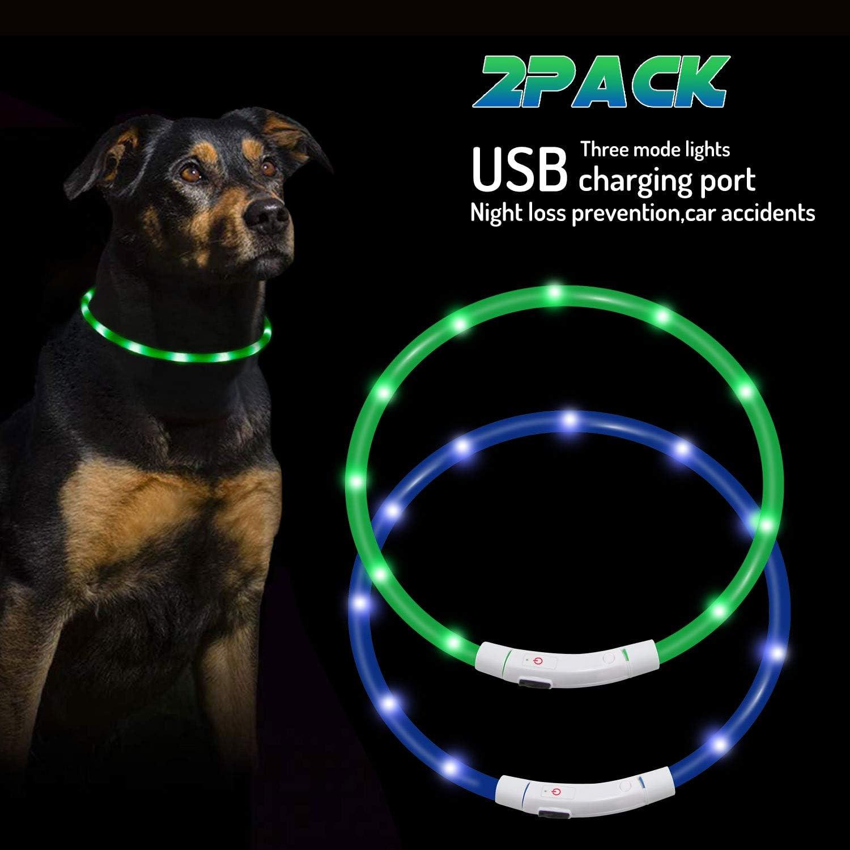 Mookis Collar de Perro LED, USB Recargable, Collar de Perro Mascota Brillante para Seguridad Nocturna, Collar de luz de Moda (Verde, Azul)