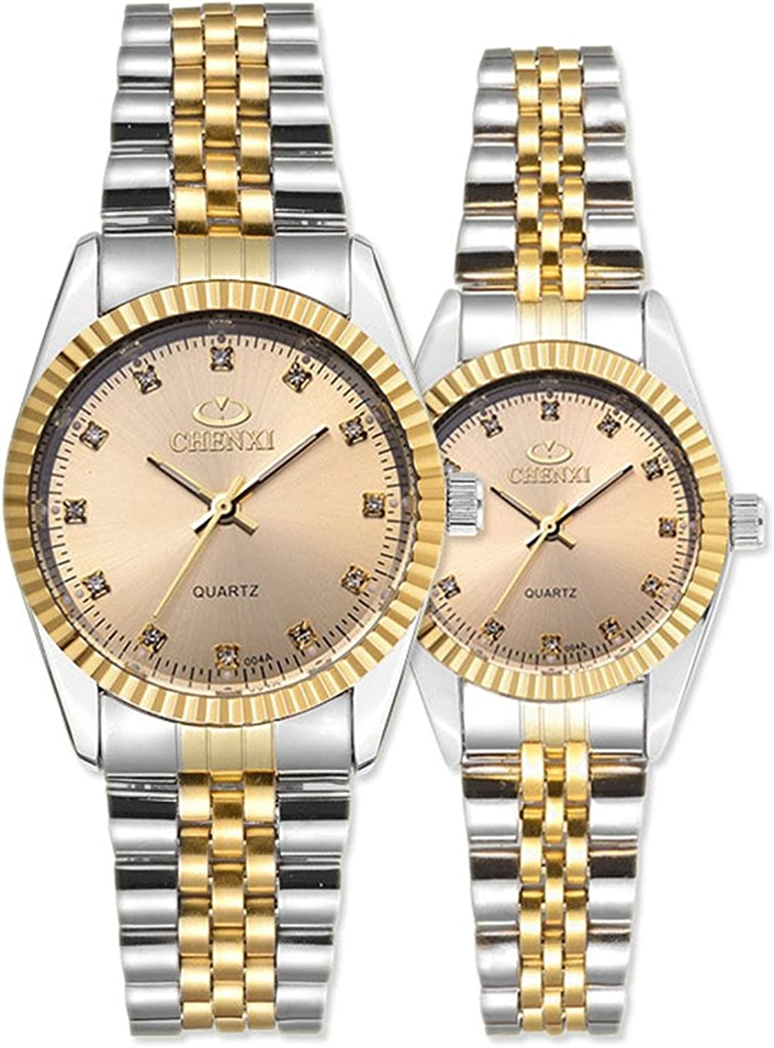 Swiss Brand Two Tone Watch Men Women Gold Silver Stainless Steel Waterproof Couple Watches Gift of 2