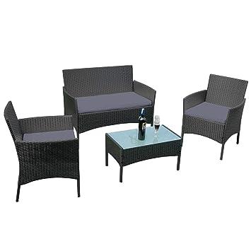 Amazonde Aufun Balkon Möbel Set Rattan Lounge Set Anthrazit