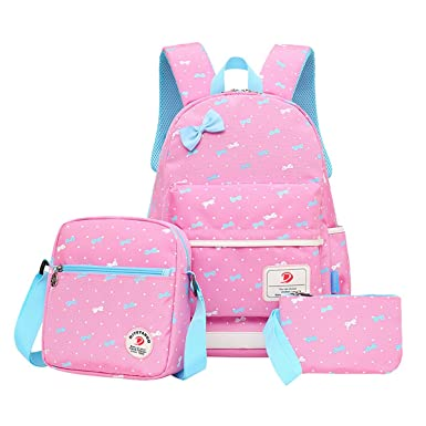 a04e8b2edc5a Amazon.com | Lilimay Polka Dot 3pcs Kids Book Bag School Backpack ...