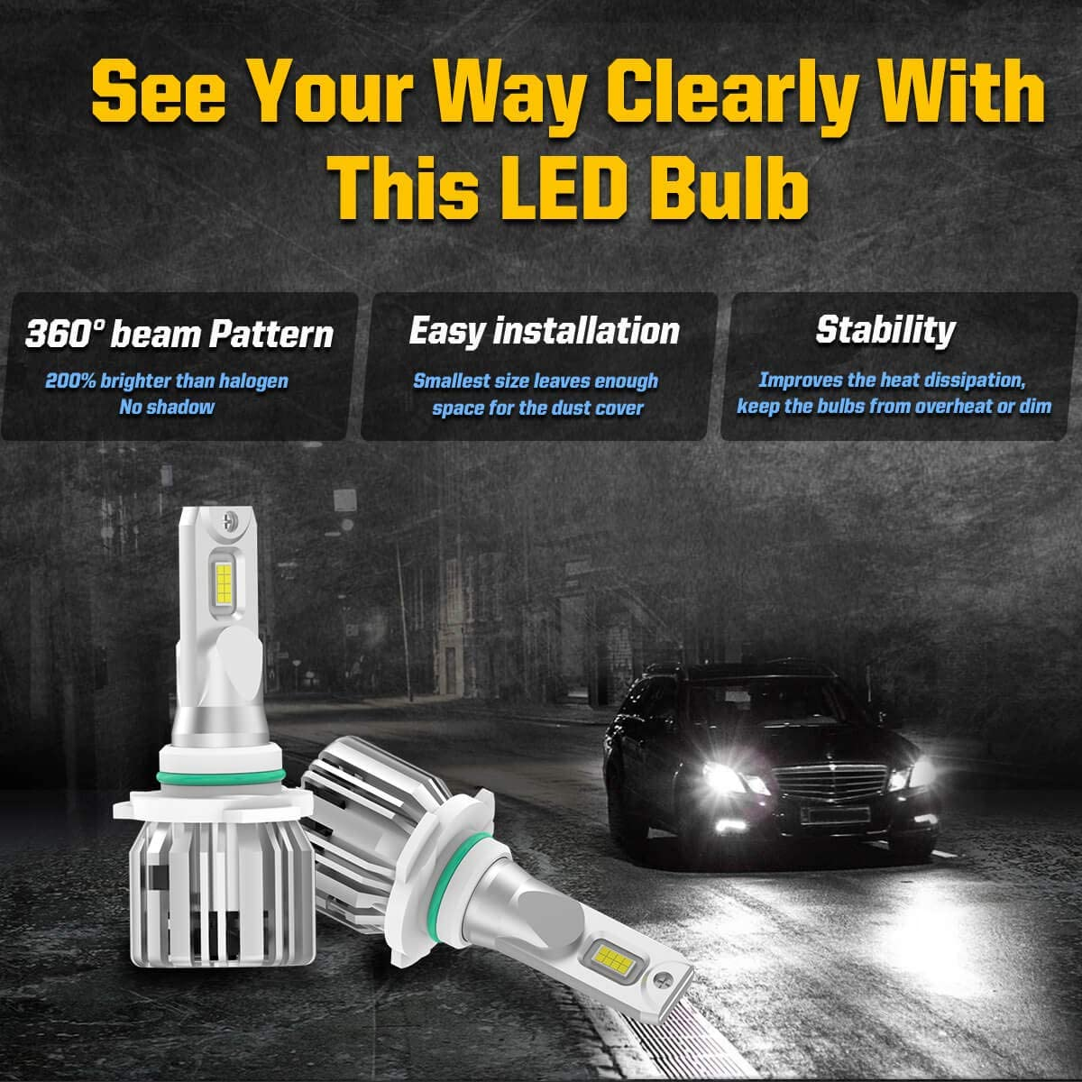 LASFIT H13 9008 LED Headlight Bulbs H10 9140 9145 Fog Light Combo Replacement for Chevrolet HHR for Ford F-150 F-250 F-350 for GMC Yukon