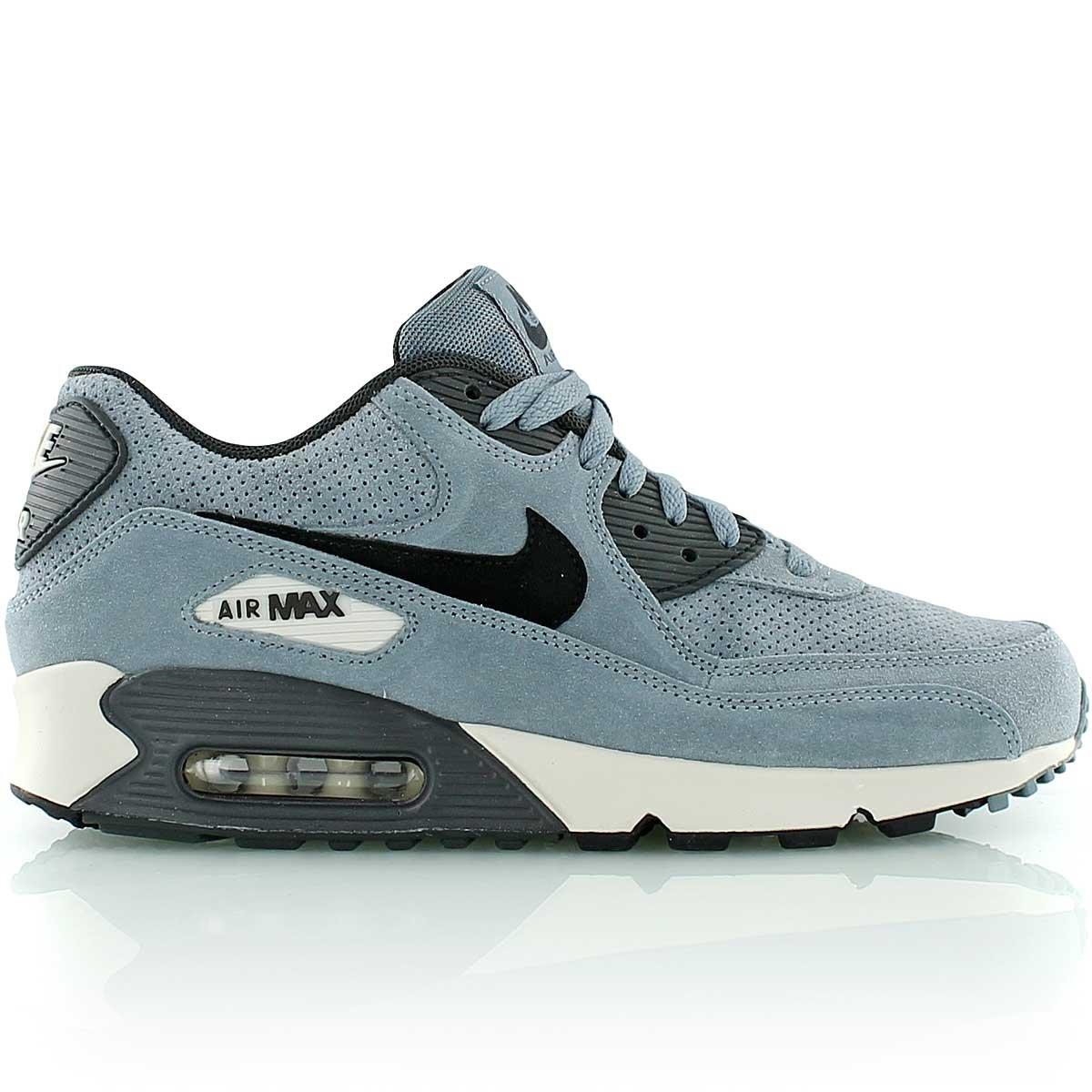 Nike Air Max 90 Leather Premium Suede Mens Trainers Shoes Blue  Graphite Black (UK-13 EUR-48.5 US-14)  Amazon.co.uk  Shoes   Bags 55958adc740d