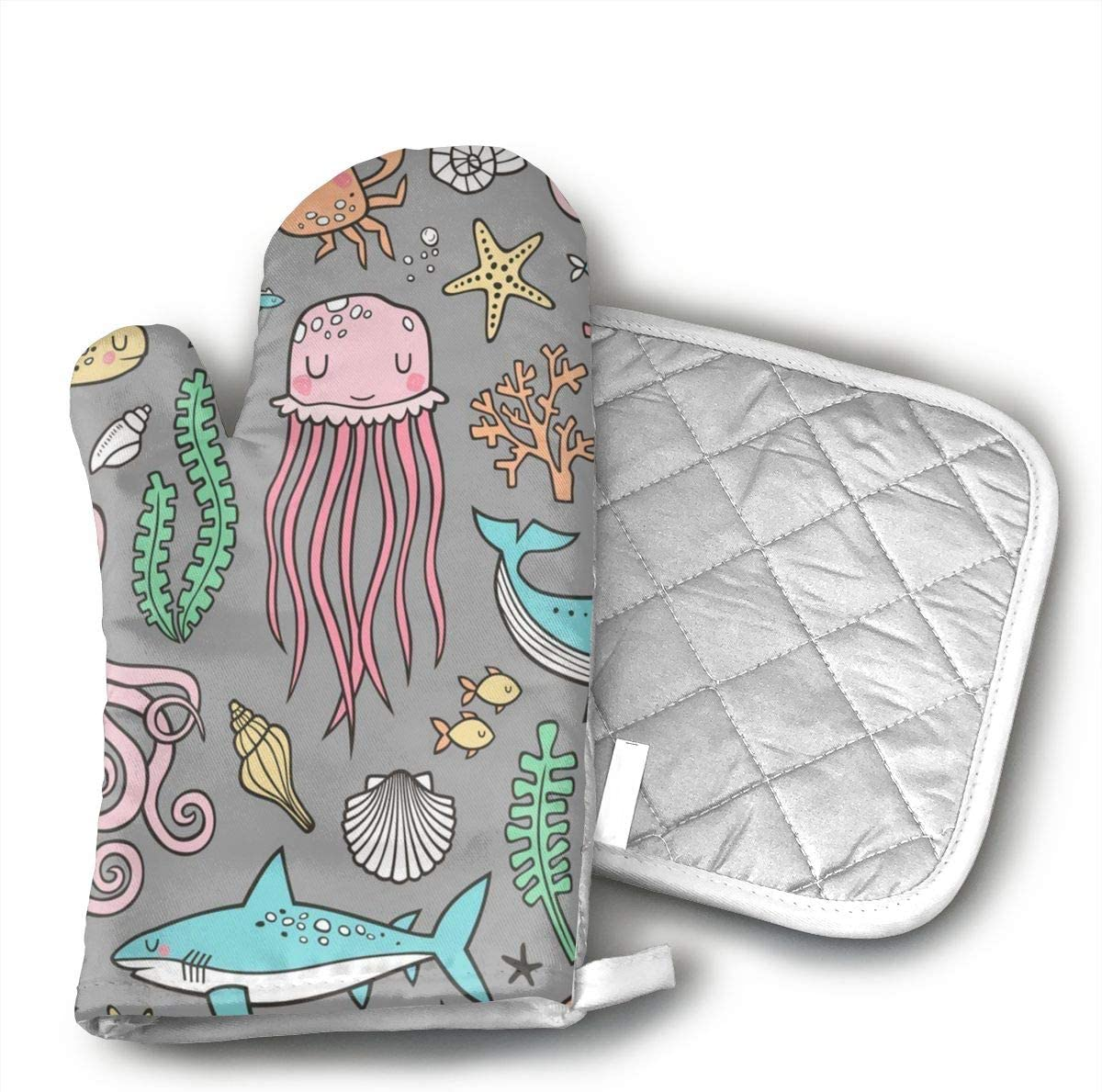VFSFJKBG Ocean Sea Life Oven Gloves, High Heat Resistance, Machine Washable High Heat Resistant Polyester Filling for Thanks Giving, Christmas