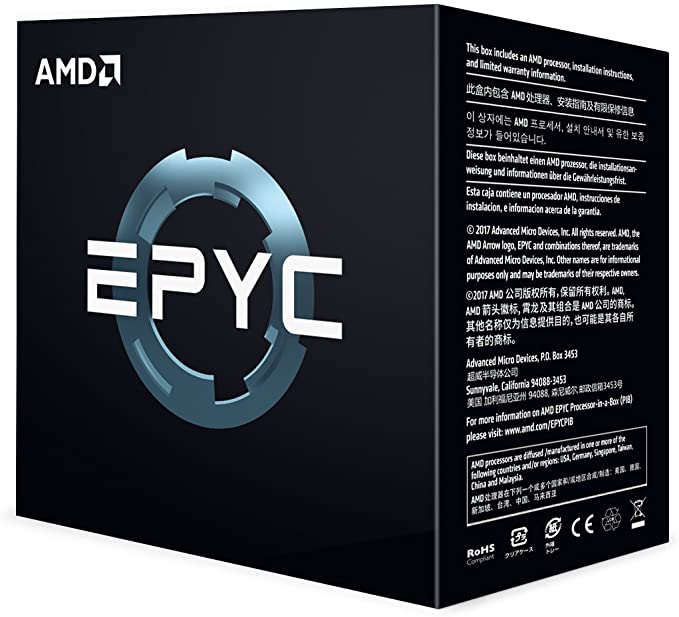 AMD PS7351BEAFWOF EPYC x86 CPU Processor Model 7351 (16c/32t 2.4GHz) 16 DDR4 DIMM Slots with up to 2TB RAM and 128 Lanes of PCIe 3